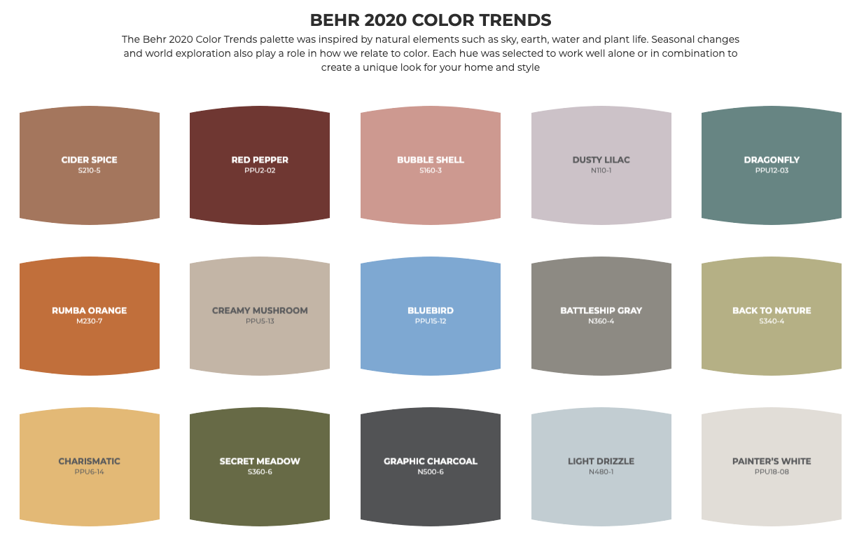 Color Trends for 2020 released by Behr - H3 Paint Blog ...
