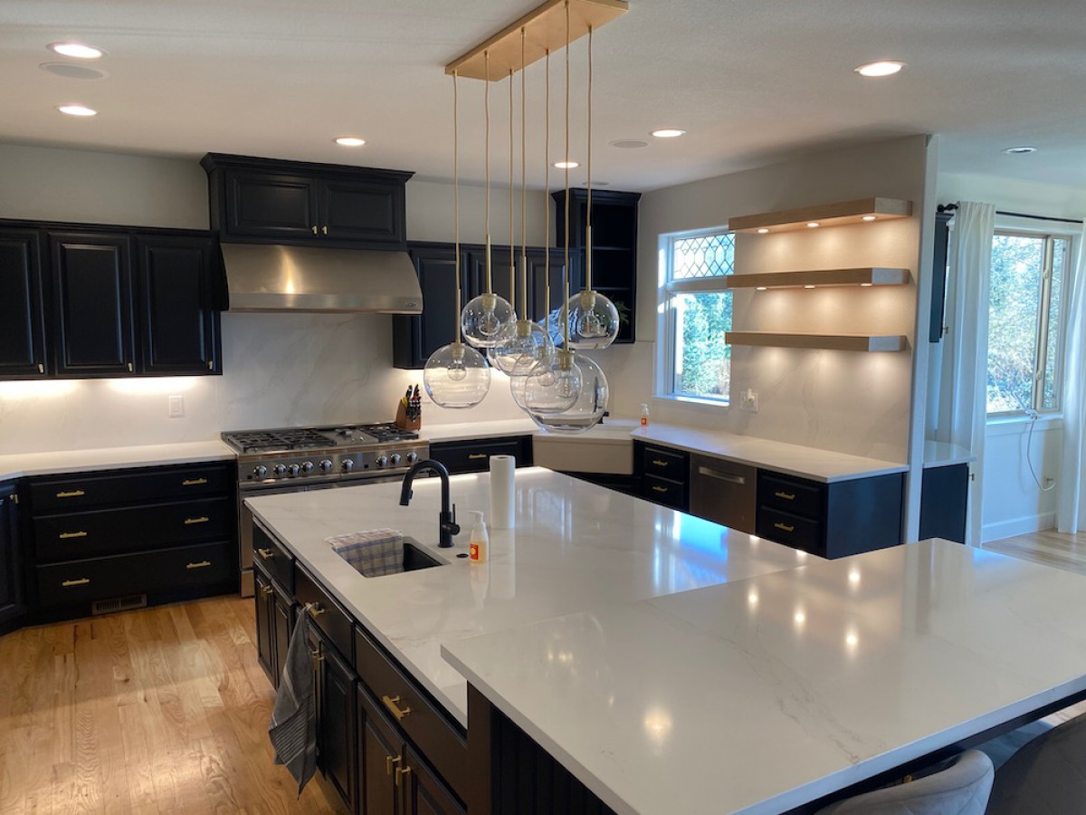 2020 Color Trends Black Cabinets Gold Hardware White Countertops H3 Paint Blog H3 Paint